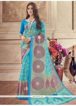 Incredible Print Work Blue Casual Saree