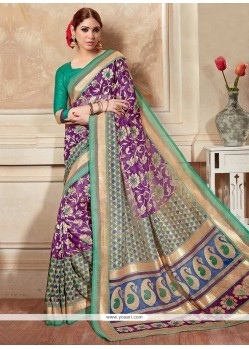 Sparkling Silk Multi Colour Print Work Printed Saree