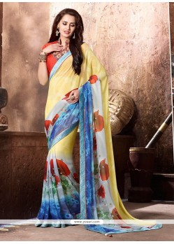 Perfect Georgette Multi Colour Print Work Printed Saree