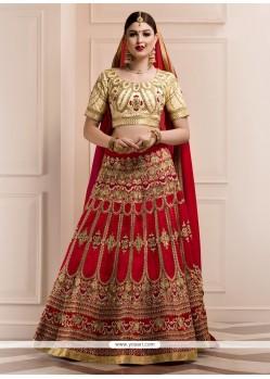 Amazing Banglori Silk Red Embroidered Work A Line Lehenga Choli