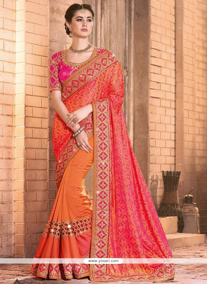 Excellent Mirror Work Silk Designer Bridal Sarees