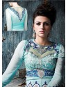 Turquoise Shaded Georgette Anarkali Suit