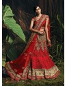 Girlish Maroon Zari Work Net Bridal Lehenga Choli