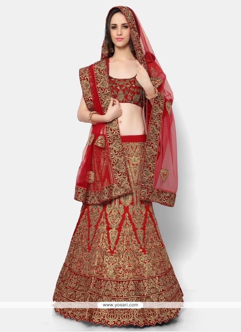 da86d20afc5cea Buy Patch Border Net A Line Lehenga Choli In Red | Bridal Lehenga Choli