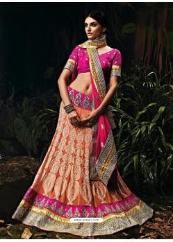 Peach Georgette Wedding Lehenga Choli