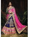 Natural Blue Velvet Zari Work Lehenga Choli