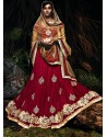 Mesmeric Maroon Net Wedding Lehenga Choli