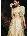 Admirable Cream Net Bridal Lehenga Choli
