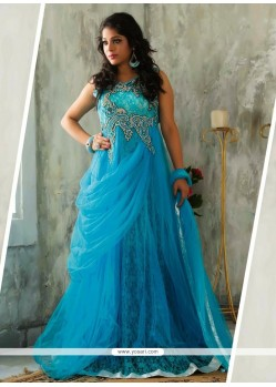 Magnificent Blue Net Stone Designer Readymade Gown
