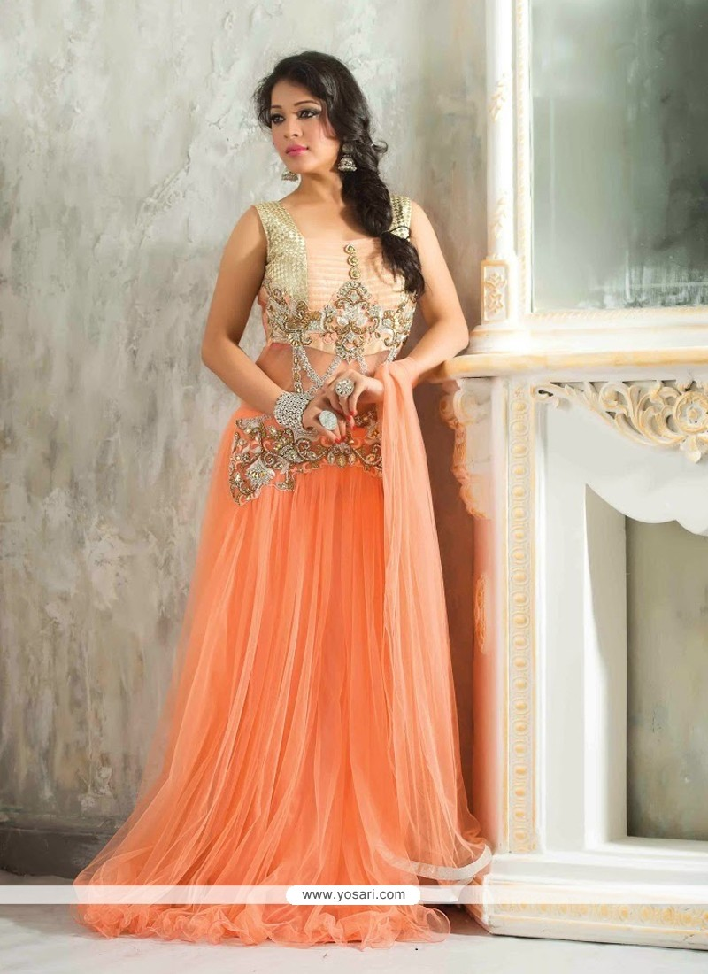 Lustrous Peach Net Designer Readymade Gown