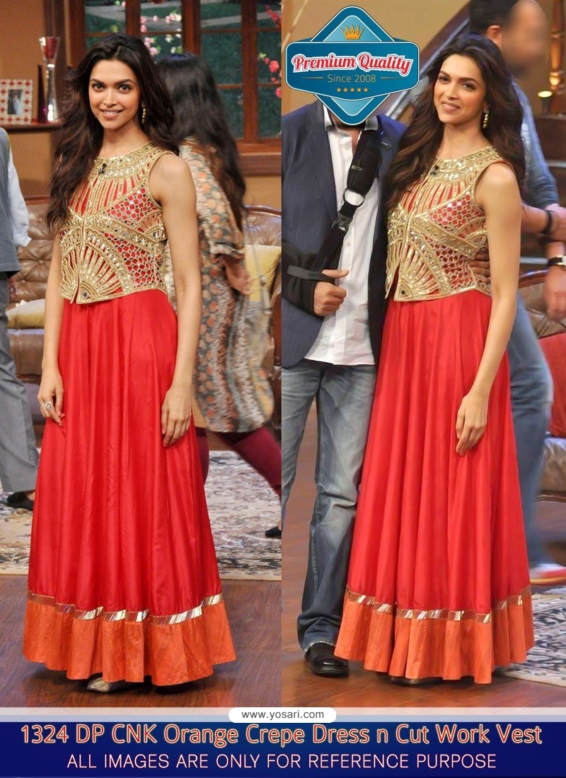 Deepika Padukone Orange Zari Crepe Gown