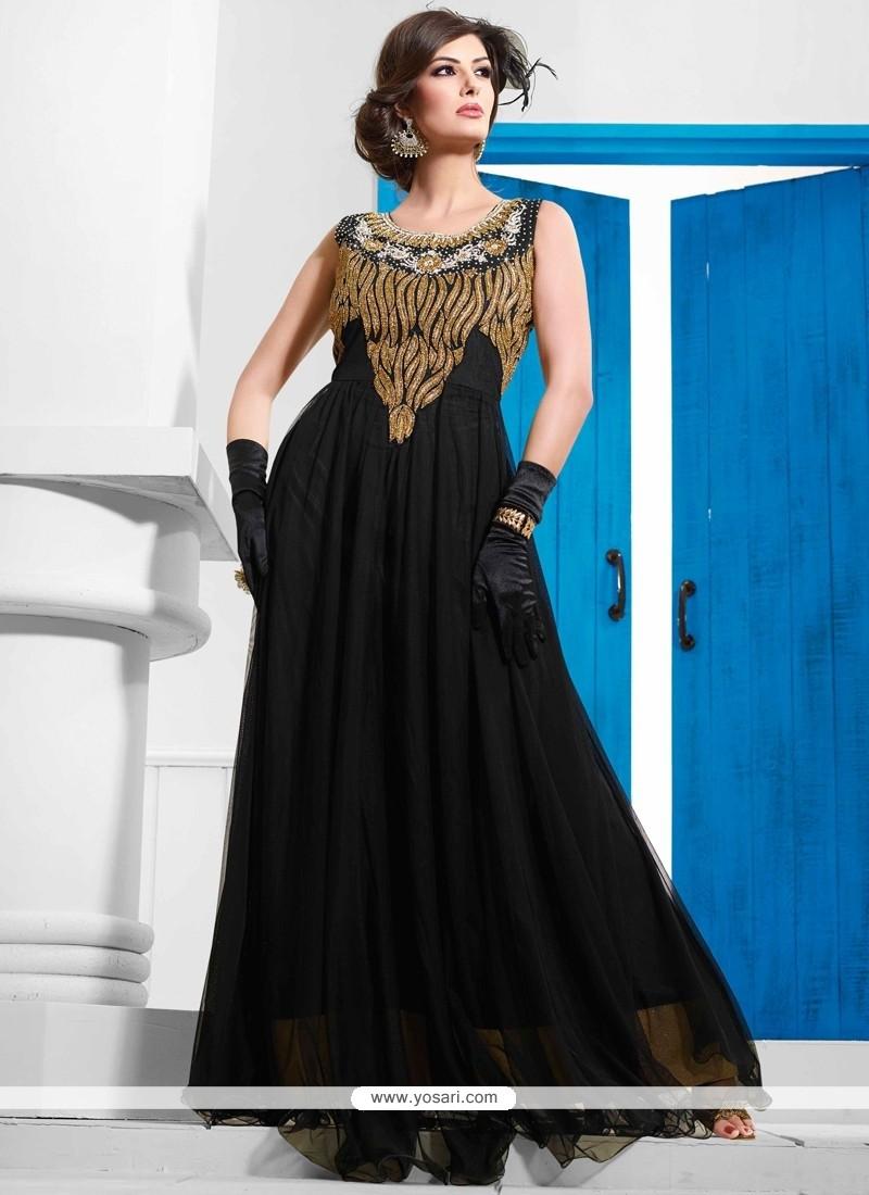 Blooming Black Net Designer Gown