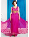 Hot Pink Net Zari Wedding Gown