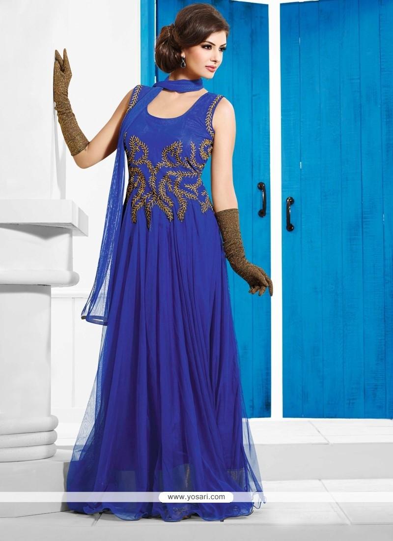 Asthetic Blue Net Designer Wedding Gown