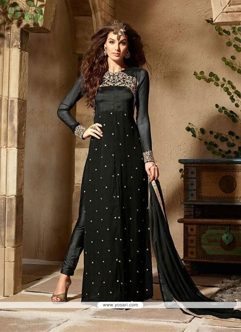 Buy Prominent Grey Georgette Designer Pakistani Salwar