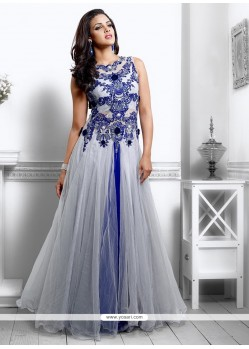 Mesmeric Grey And Blue Net Designer Gown