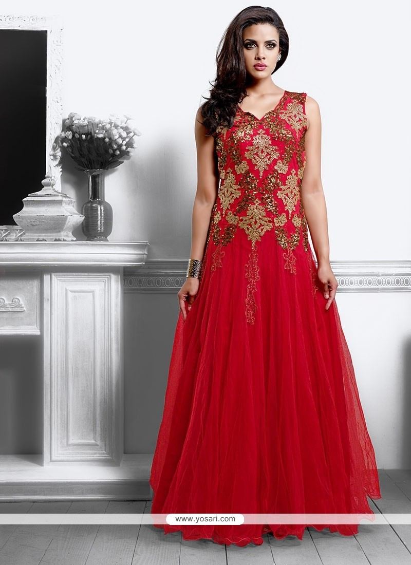 Latest Red Net Wedding Gown