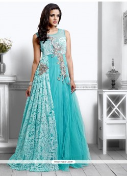 Turquoise Blue Net Designer Gown