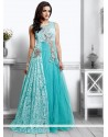Turquoise Blue Net Designer Gown