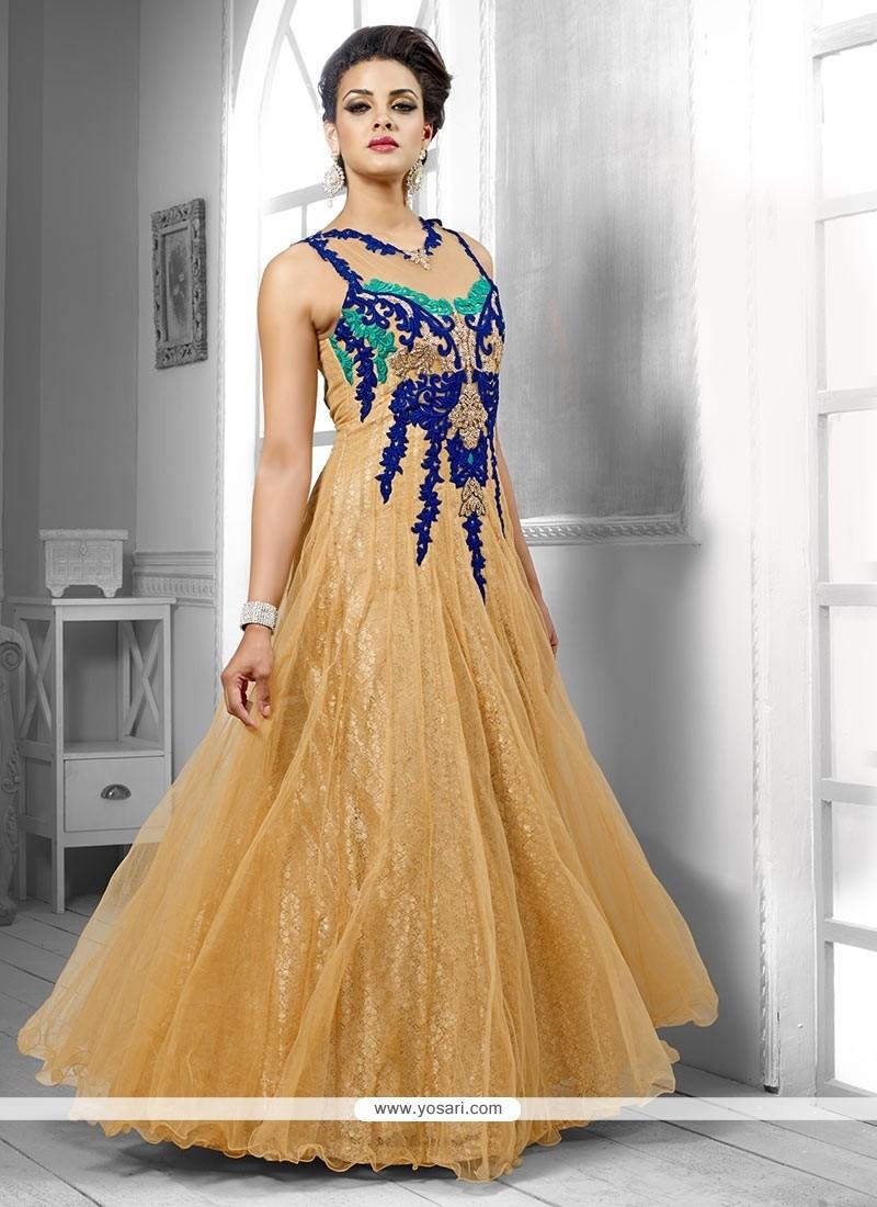 Lustrous Beige Net Designer Gown