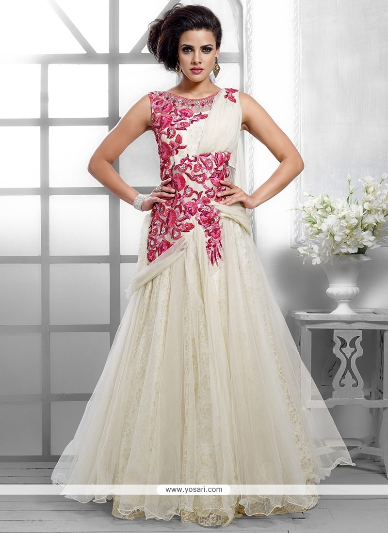 Groovy Off White Net Gown