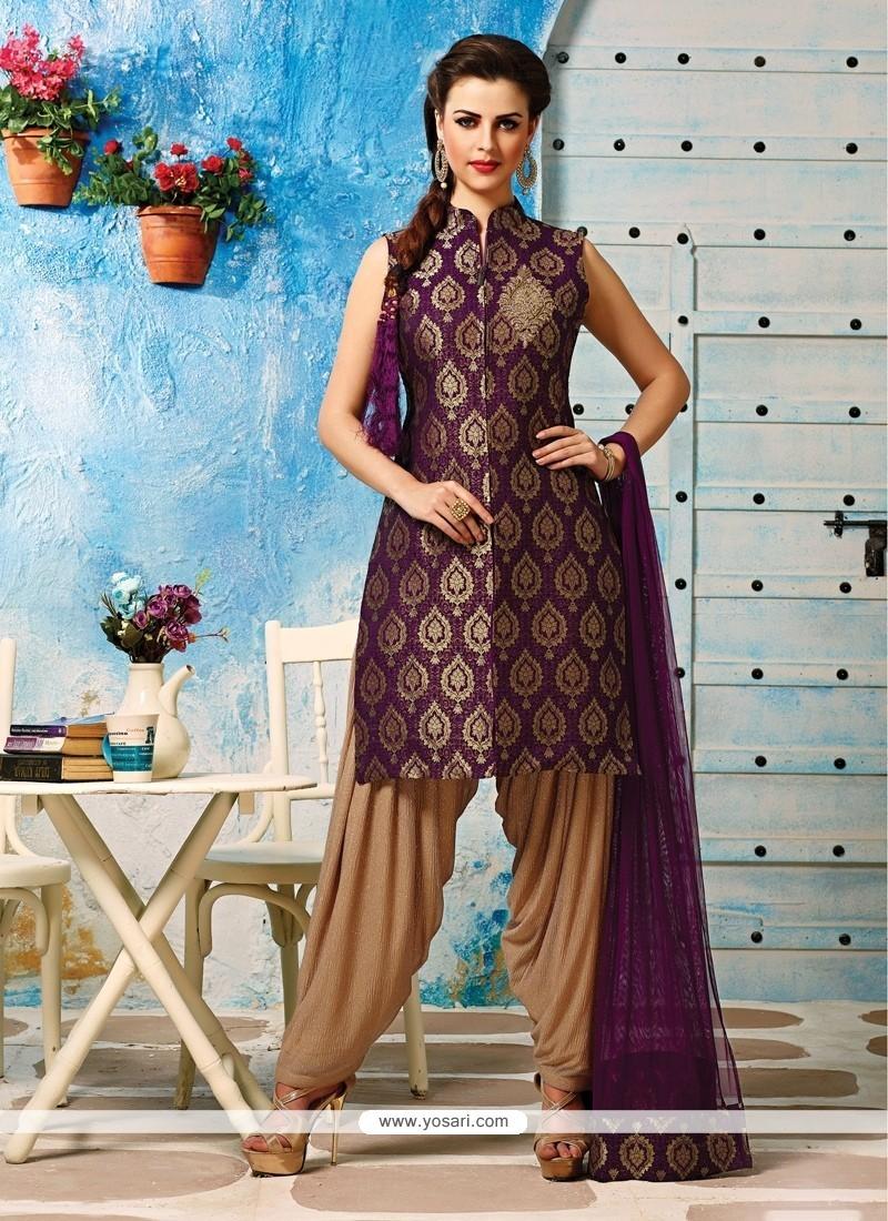 Buy Astounding Purple Embroidered Work Brocade Readymade Designer