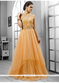 Genius Peach Net Designer Gown