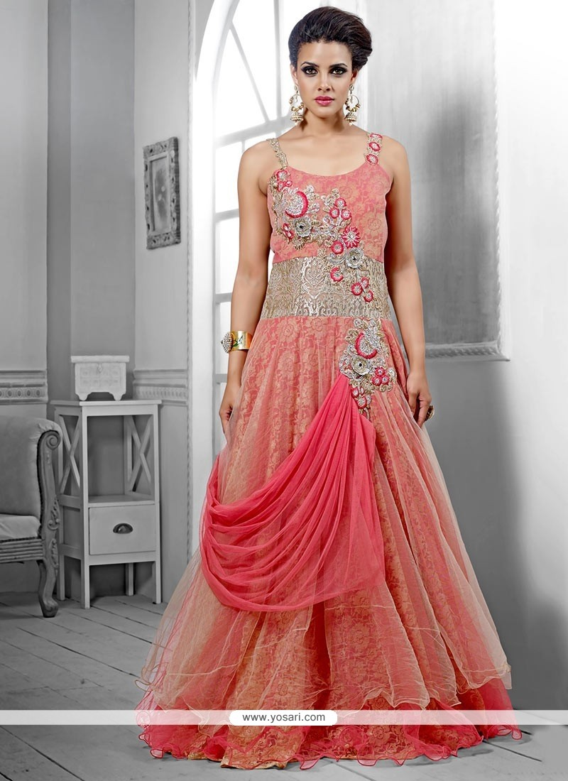 Fashionistic Pink Net Wedding Gown