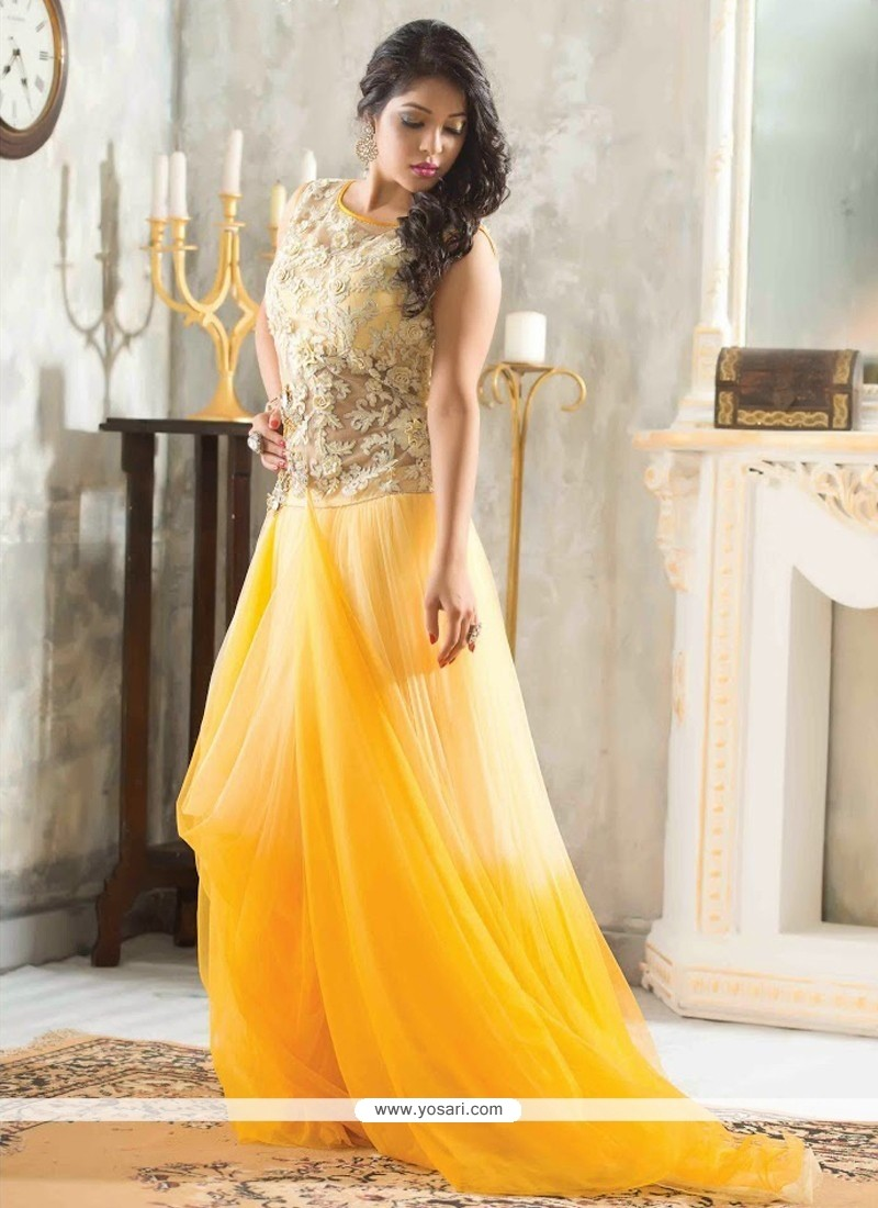 Markable Yellow Net Designer Readymade Gown
