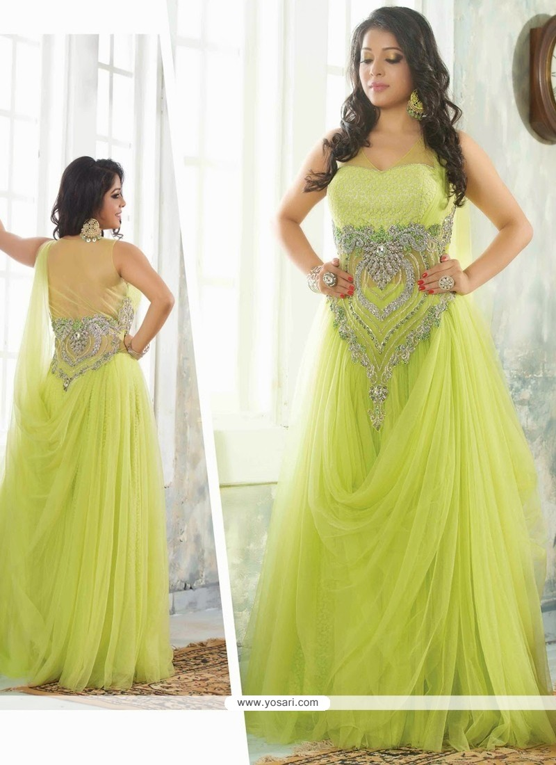 Lustrous Green Net Designer Readymade Gown