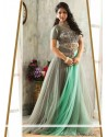 Radiant Grey Net Resham Readymade Gown