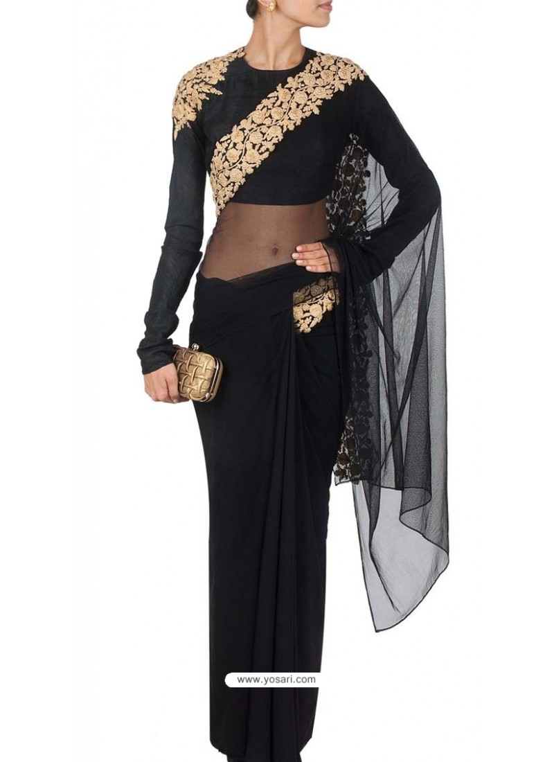 Half Net Half Georgette Black Saree