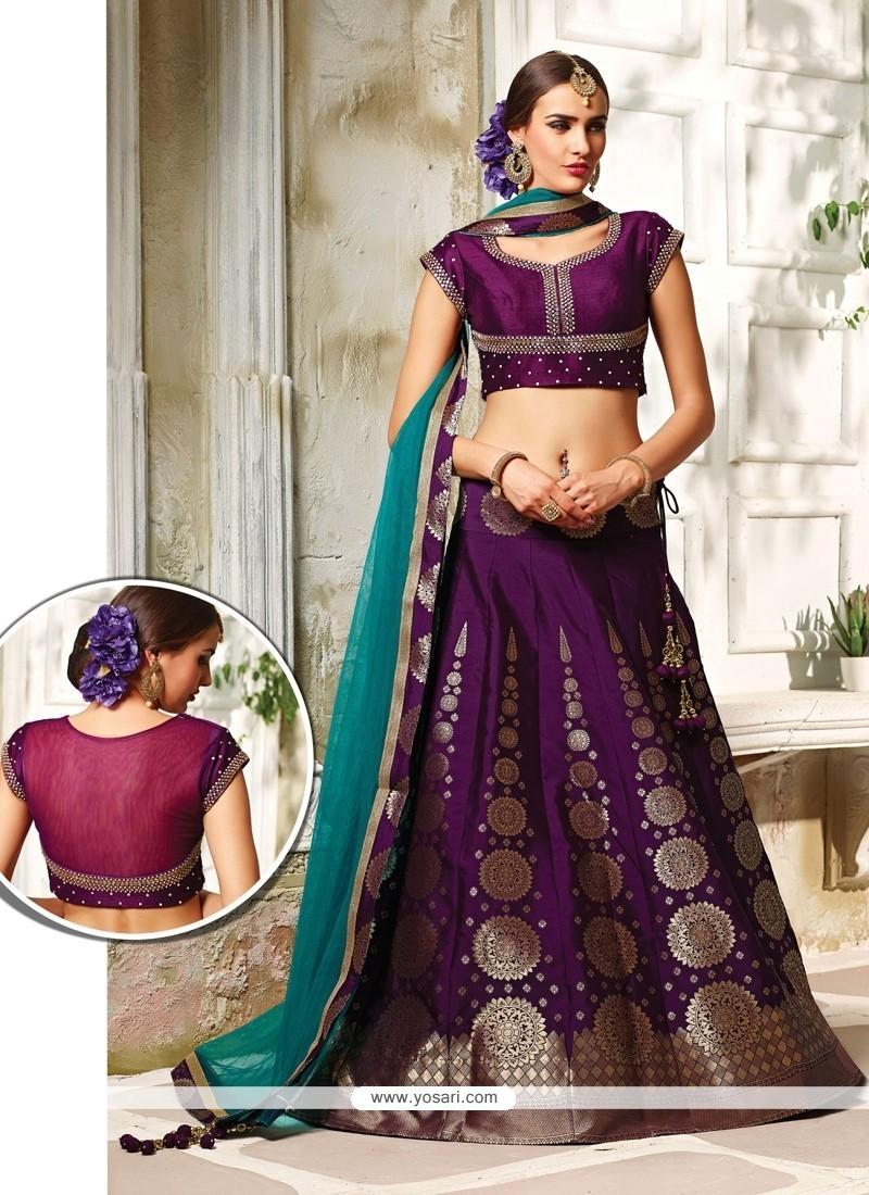 3e1e6cae08 Buy Majesty Embroidered Work Purple Net A Line Lehenga Choli ...