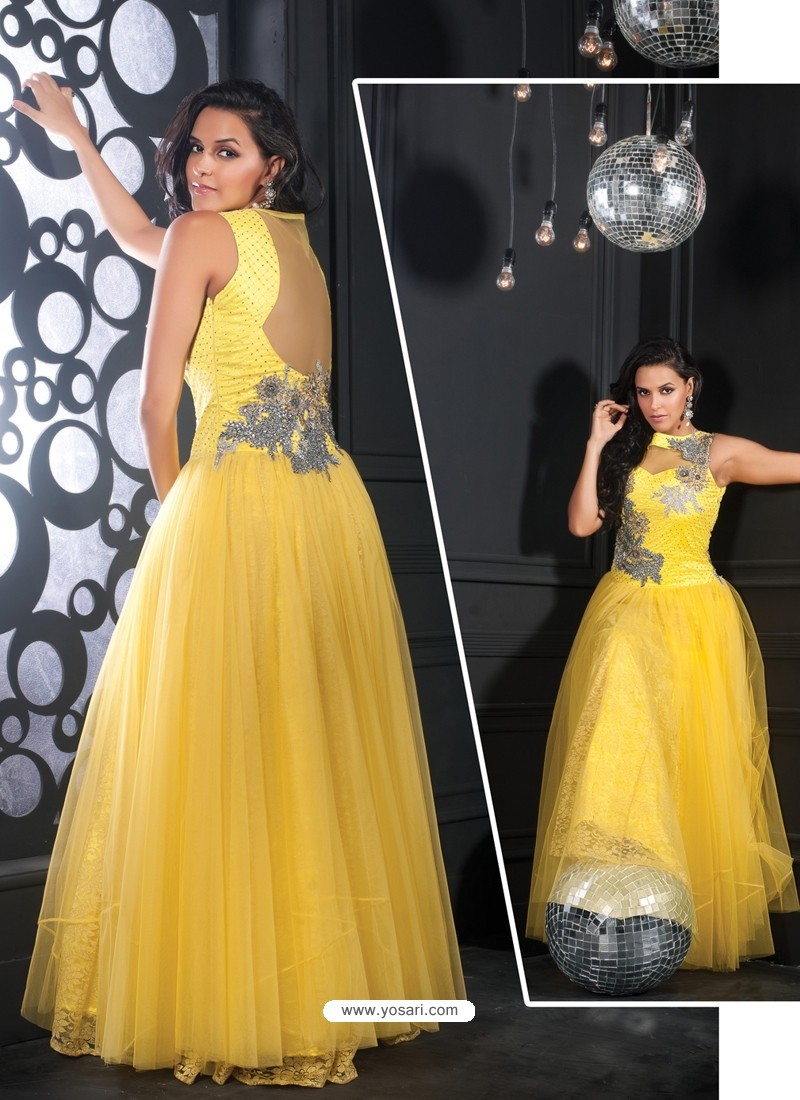 Yellow Party wear Gown