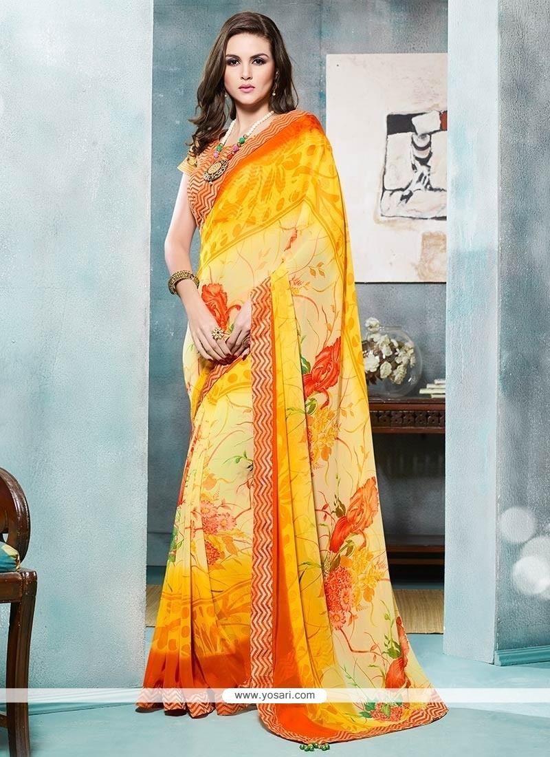 Lavish Print Work Yellow Georgette Printed Saree