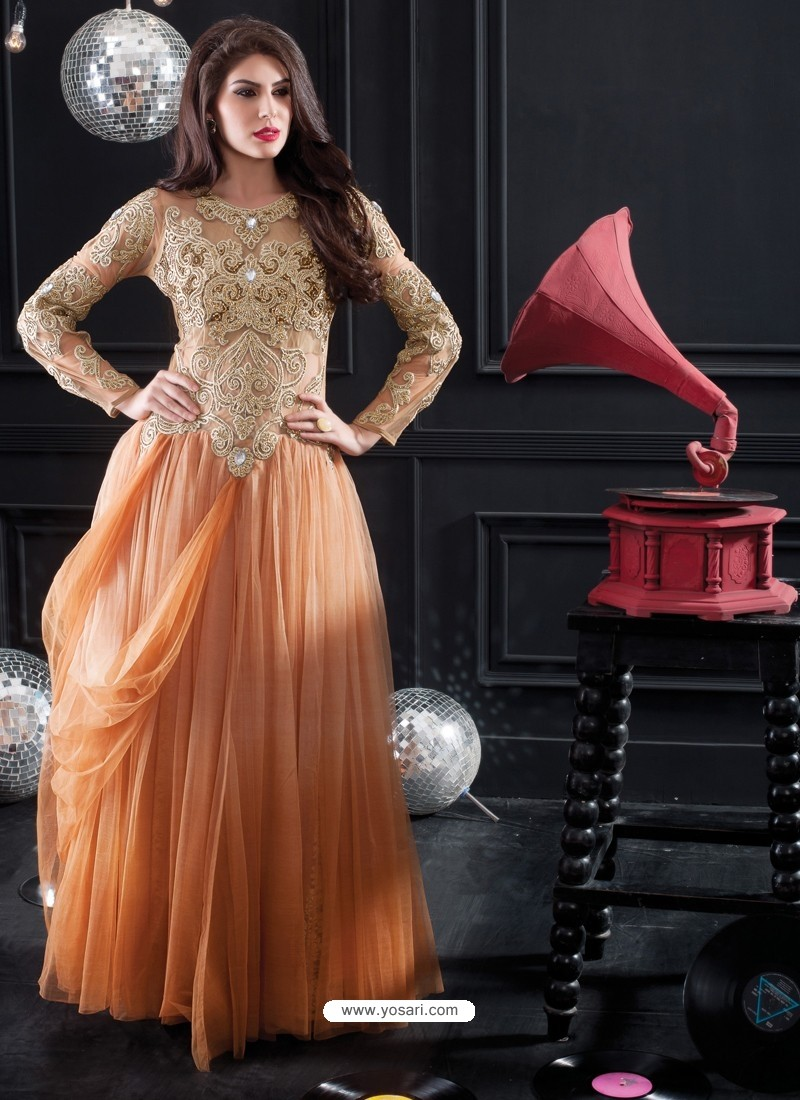 Peach Net Designer Party wear Gown