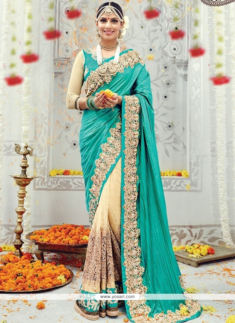 Voluptuous Banarasi Silk Sea Green Designer Traditional Sarees