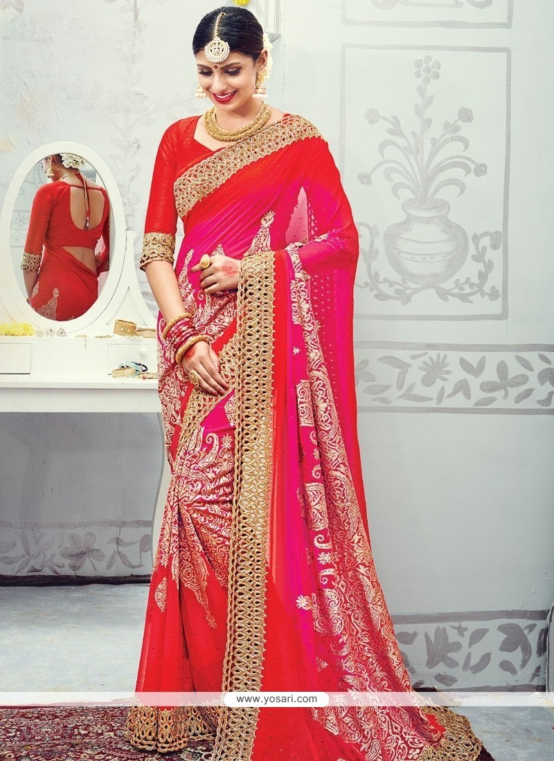 Divine Hot Pink And Red Patch Border Work Designer Traditional Sarees