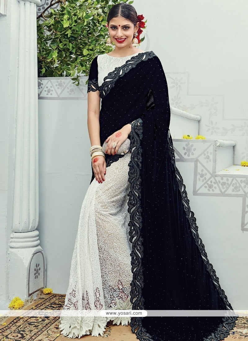 fd588e76d1181 Buy Gratifying Net Embroidered Work Designer Half N Half Saree ...