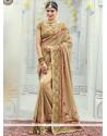 Monumental Net Beige Embroidered Work Classic Designer Saree