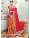 Compelling Patch Border Work Orange Georgette Traditional Designer Sarees