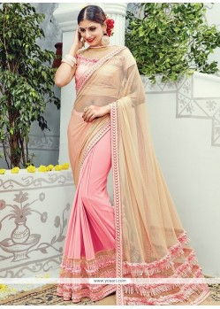 Arresting Peach And Pink Embroidered Work Lycra Classic Designer Saree