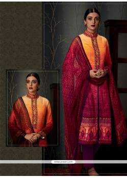 Impressive Pashmina Multi Colour Print Work Designer Straight Salwar Suit