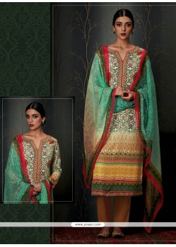 Outstanding Print Work Multi Colour Pashmina Designer Straight Salwar Suit