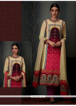 Adorning Pashmina Multi Colour Print Work Designer Straight Salwar Suit