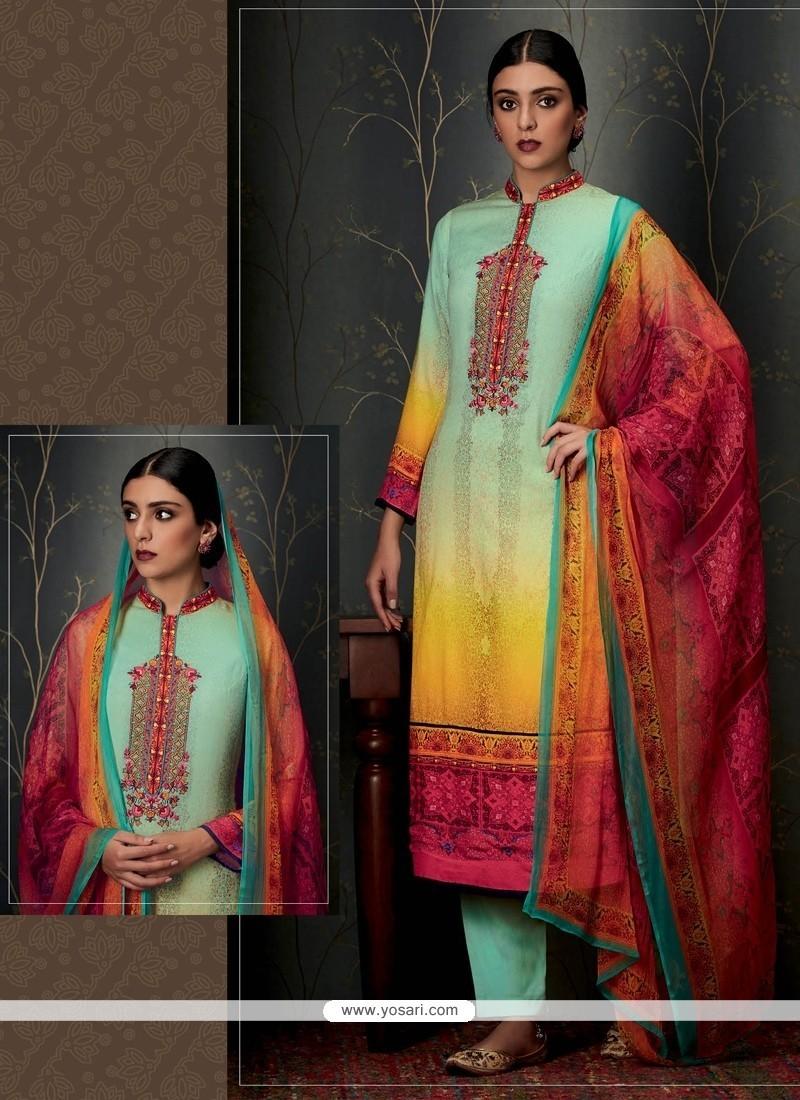 Floral Print Work Pashmina Multi Colour Designer Straight Salwar Suit