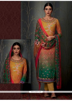Impeccable Pashmina Print Work Designer Straight Salwar Suit