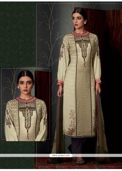 Opulent Print Work Pashmina Cream Designer Straight Salwar Suit