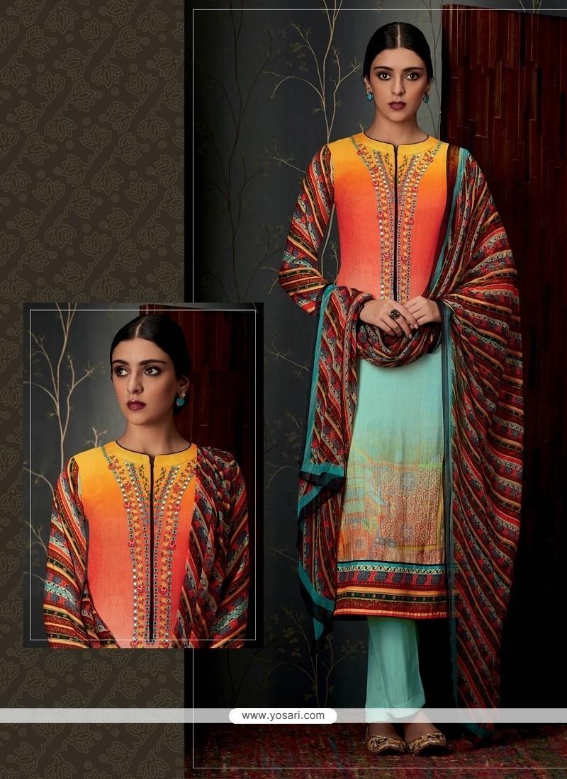 Delightful Pashmina Designer Straight Salwar Suit