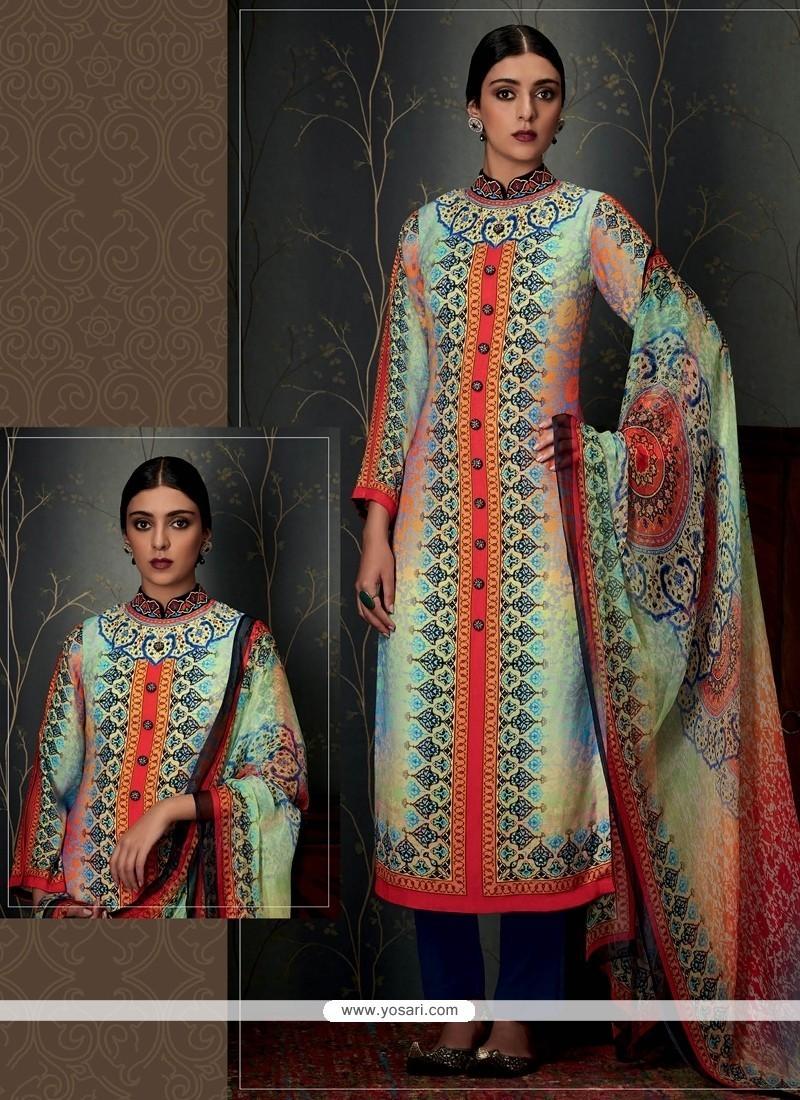 Nice Print Work Pashmina Designer Straight Salwar Suit
